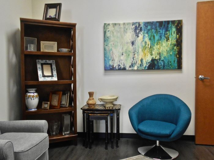 Modern Swivel Chair, Abstract Art, Bookcase