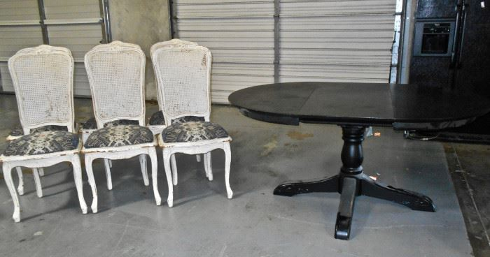 Shabby-Chic DR Chairs & Black DR Table