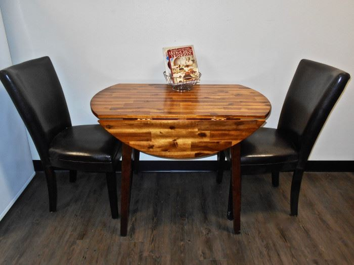 Drop Leaf Dinette Table, Black Chairs