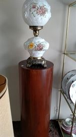 Puffy Glass Electric Lamp........................................Pedestal.......SOLD