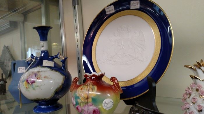 Intaglio Plate and Royal Bayreuth Vase