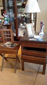 Unusual chest containing set of 4 folding occasional tables inside