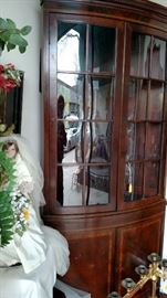 Lovely Mahogany Corner Cupboard and Lady Diana Bride Doll