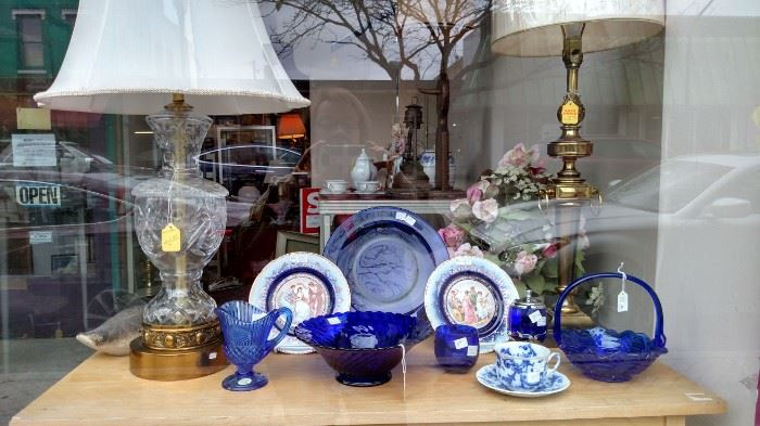 Crystal Lamp and Cobalt Blue Glass.  (teacup is SOLD)
