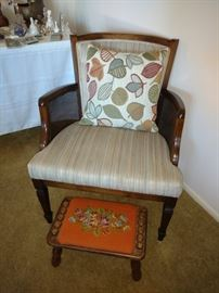 Vintage chair and footstool