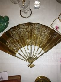 Vintage brass fan wall decor