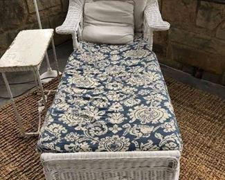 Wicker chaise with custom cushion
