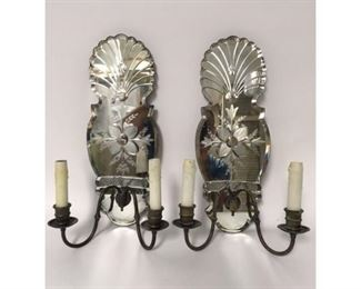 Antique pair venetial mirrored sconces