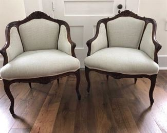 Antique pair french chairs newly upholstered