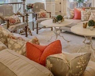 2 Restoration Hardware sofas, custom pillows, 2 custom Gabby Home chairs, 2 white metal tables, 2 Sofa tables