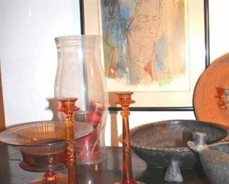 Candle Sticks, Hurricane Lamp, Decorative Bowls and Art