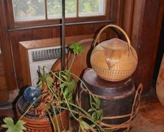 Plant, Baskets and Floor Lamp
