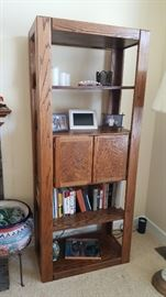 Oak bookshelf with cabinet $50