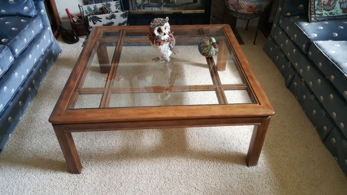 Drexel Oak glass top coffee table - $75