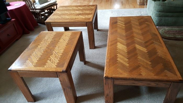 Oak coffee table set - two side tables and a coffee table $125 for all three together.