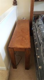 Oak sofa back table - $75