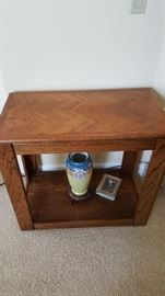 Oak side table fits between bookshelves $50