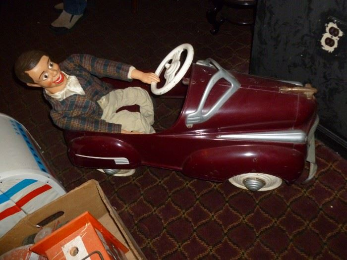 Awesome old Pedal Car w/Jerry Mahoney taking a ride