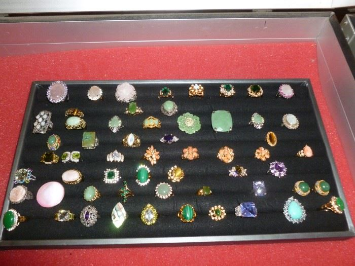 Costume Rings..many sterling & genuine stones