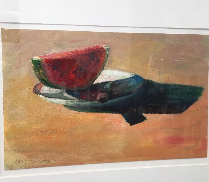 """Jian Wang """"Watermelon & knife on a plate"""" oil painting on paper"""