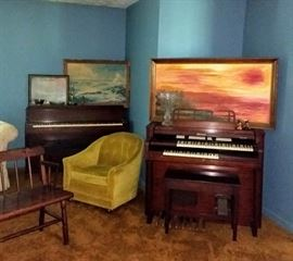Piano and Organ with benches