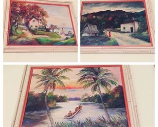 set of 3 original tropical paintings from the 1940's