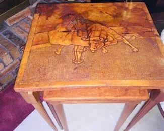 we have several Peruvian leather tables that have been embossed with local scenes