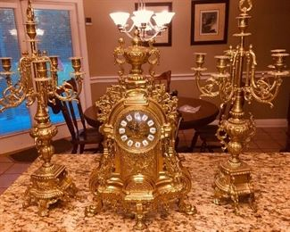 French Ormolu Clock with Matching pair of 6 candle candleabras
