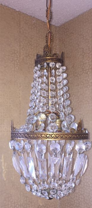 Hollywood Regency style small vintage chandelier--perfect for a bathroom!