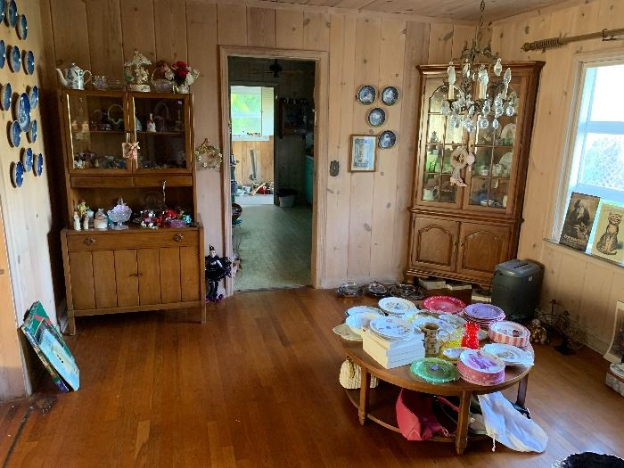 Hutch.  Coffee table.  Variety of china pieces.  Kitchen bistro table & 2 chairs.
