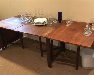 """teak drop leaf table... drop leafs are 26"""" each middle table is 58'    36"""" D."""