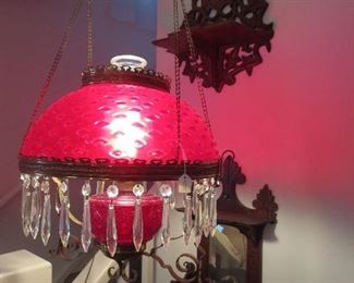 Victorian Ruby Hanging Parlor Lamp with Prisms