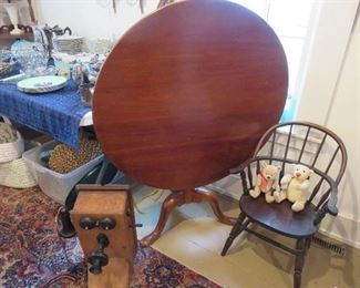 Victorian Tilt Top Table , Early Windsor Child's Chair,  Oak Wall Telephone
