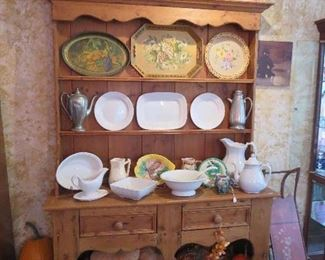 Pewter Cupboard with Ironstone and Newer Pumpkins, Tole Trays