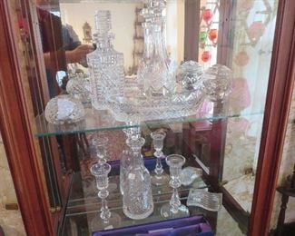Waterford Items, Including Retired Tall Candlesticks ) 2 Pair, Square Decanter, Celery, Paperweights, Decanters, Cake and Knife Set