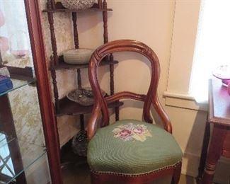 Walnut Corner Shelf, Victorian Victorian Chair with Green Needlepoint