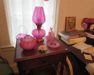 Fenton Cranberry Opalescent Lamp, Cased Fenton Corn Bowl, Fenton Cranberry Opalescent Cruets