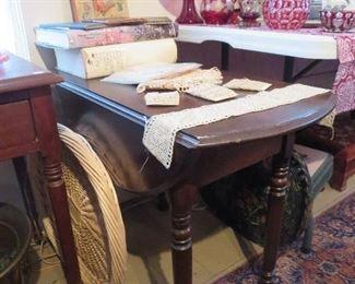 Low Drop Leaf Walnut Table, End Table Size