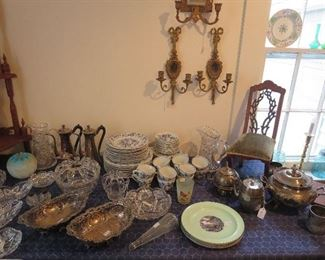 Pair of Pairpoint Silverplate Pierced Dishes, Set of Blue Danube