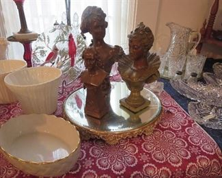 Lenon Bowl, Pair of Lenox Flower Urns, Trio Of Bronze Busts on Victorian Beveled Mirror Plateau