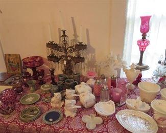 Westmoreland Milk Hand Painted Milk Glass, Jasperware, Ruby Bohemia Glass, Collection of Sugar Shakers