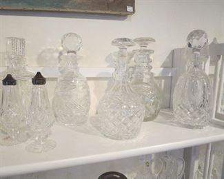 Collection of Old Waterford Decanters, Salt and Pepper Shakers,