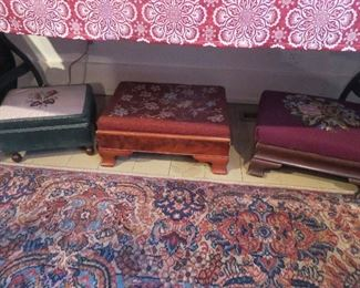 Collection of Needlepoint Footstools one with Sewing Box inside