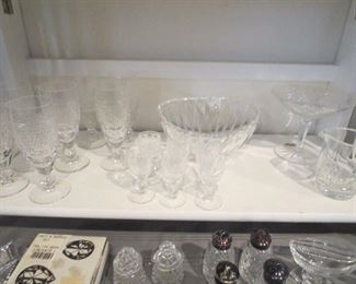 Waterford Goblets, Bowls, Cordials, Stemmed Jelly, Creamer and Sugar