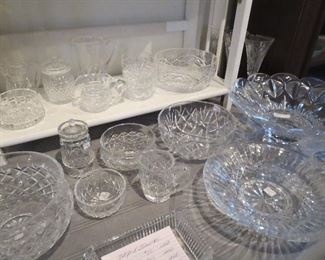 Waterford Crystal Large Butterfly Bowl, Candy Tray, Large Bowls Sugar and Creamer, Footed Jelly
