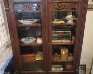 Super Walnut Victorian 2 Door Bookcase, 2 Drawers Below, Carved Flowers