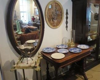 Super Onyx and Brass Fern Stand, Super Large Oval Victorian Framed Mirror, Great Victorian Library Table