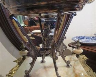Cherub on bottom of Tazza Victorian Quadraplate Silver