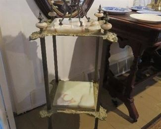 Great Brass and Onyx Fern Stand