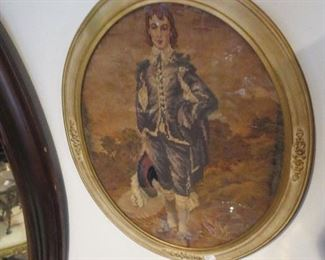 Needlepoint of Blue Boy in Oval Frame